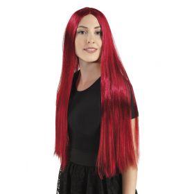 Κόκκινη Μακριά Αποκριάτικη Περούκα 71cm