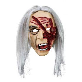 Λάτεξ Αποκριάτικη Μάσκα Ζόμπι Με Μαλλιά Και Πληγές