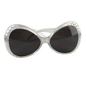 Ασημί Μεγάλα Αποκριάτικα Γυαλιά Με Γκλίτερ