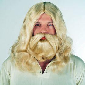 Ξανθιά Αποκριάτικη Περούκα Με Μούσι Και Μουστάκι Jesus
