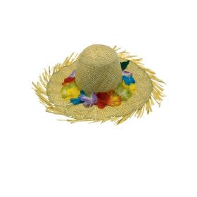 straw Carnival HAT WITH FLOWERS