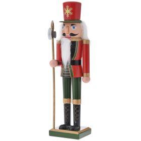 Στρατιώτης Καρυοθράυστης Κόκκινα - Πράσινα Ρούχα Με Γένεια 38cm