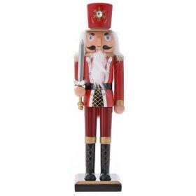 Στρατιώτης Καρυοθράυστης Κόκκινα Ρούχα Με Γένεια 38cm