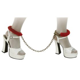 Carnival Handcuffs Leg With Red fur