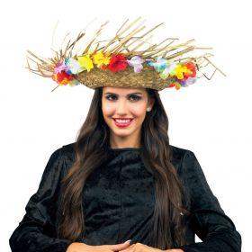 Ψάθινο Χαβανέζικο Αποκριάτικο Καπέλο