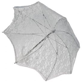 White Halloween Umbrella With Lace 55cm