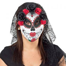 Βραζιλιάνικη Αποκριάτικη Μάσκα Με Λουλούδια Και Τούλι
