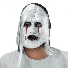 Λάτεξ Λευκή Αποκριάτικη Μάσκα Με Μαλλιά