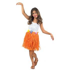 Πορτοκαλί Παιδική Αποκριάτικη Φούστα Χαβανέζας 40cm