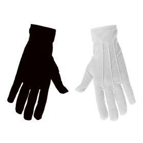 Κοντά αποκριάτικα γάντια (Σέτ λευκό - μάυρο) 23cm