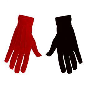 Κοντά αποκριάτικα γάντια (Σέτ κόκκινο - μάυρο) 23cm