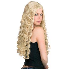 Ξανθιά Μακριά Σγουρή Αποκριάτικη Περούκα