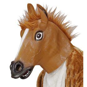 Λάτεξ Αποκριάτικη Μάσκα Καφέ Άλογο Με Μαλλιά