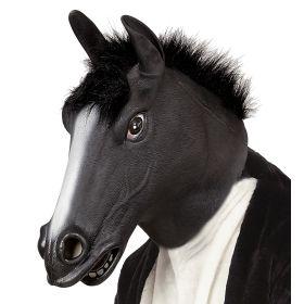 Λάτεξ Αποκριάτικη Μάσκα Μάυρο Άλογο Με Μαλλιά