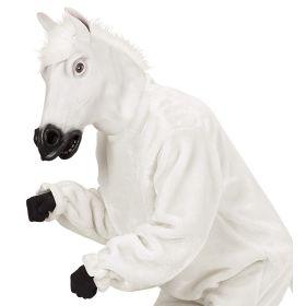 Λευκή Αποκριάτικη Μάσκα Λάτεξ Άλογο Με Μαλλιά