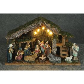 WOODEN CHRISTMAS manger with LIGHTS BATTERY,38 x 14 x 22 (h) cm