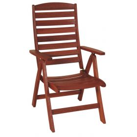 Wooden High Back Folding Armchair 5 Positions,Red Shorea