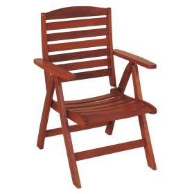 Wooden Folding Chair Low Back With 5 Positions,Red Shorea