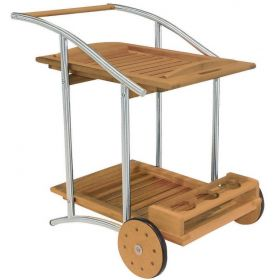 Wooden Trolley Serving With Stainless Frame,Teak