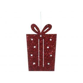 Ξύλινο Κρεμαστό Χριστουγεννιάτικο Στολίδι 4 x 7(h)cm ,Σέτ 4 Τεμαχίων