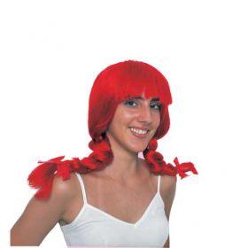 Κόκκινη Αποκριάτικη Περούκα Πίπη