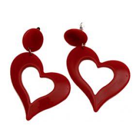 Κόκκινα Αποκριάτικα Σκουλαρίκια Καρδιά