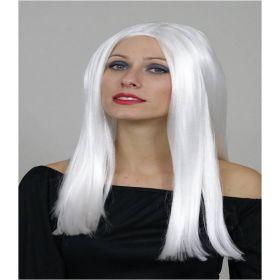 Λευκή Μακριά Αποκριάτικη Περούκα